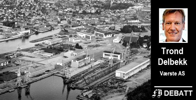 Slik så FMV-området ut i 1988 da verftsvirksomheten opphørte. Trond Delbekk forteller hvordan Værste AS vil ta vare på historien.