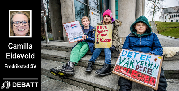 Streiket allerede forrige fredag: Peder Elias Henriksen (11), Mathea Roos-Hauge (11) og Karelius Godal-Røvik (11) fra Rødsmyra skole droppet skolen for å vise sin støtte til miljøet.