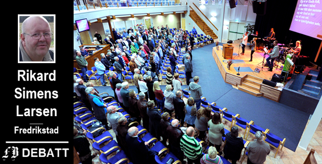 Møte i Zoé-kirken på Selbak.  Brevforfatter Rikard Simens Larsen mener det er religionsfriheten slaget står om når Bymiljølista mener kommunen ikke bør leie kirken for møter og opplæring.