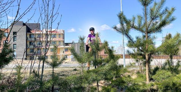 FRISK LUFT: Hans Martin Enger slår et slag for lånt elsykkel i Nordre Follos friske luft.