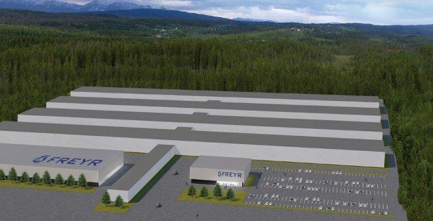 Ny fabrikk: Sånn kan den ferdige batterifabrikken til Freyr bli seende ut. Fabriken trenger et areal å 700 dekar. Tegning: Norconsult