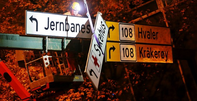 Natt til mandag ble skiltet som viser veien til sykehuset i Fredrikstad tatt ned. Fra i dag ligger sykehuset på Kalnes.