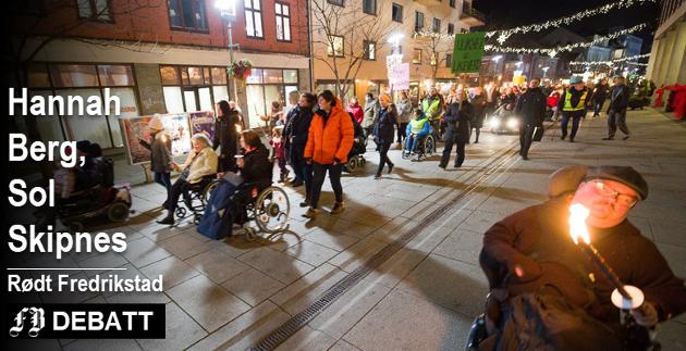 Ledelsen i Rødt Fredrikstad gir tydelig støtte til Likeverdsalliansen, og er første parti som svarer på deres utfordring idet partiene skal lage program for kommunevalget neste  høst. Bilde fra alliansens store fakkeltog i desember 2017.