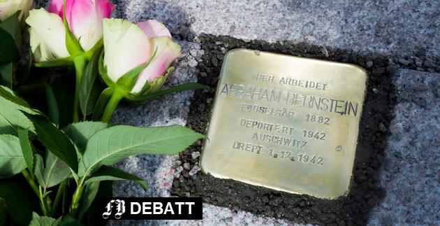 Snublestenen til minne om jødiske Abraham Bernstein, som døde i tysk fangenskap under krigen, kom på plass på Stortorvet 3. juni 2015.