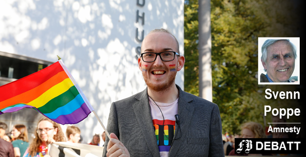 Kristoffer Lorang Mathisen i Pride-paraden 25. august i år. – Han er klar på at Pride ikke er en homofestival, som mange nok tror den er, men en fest for mangfoldet, skriver Svenn Poppe.