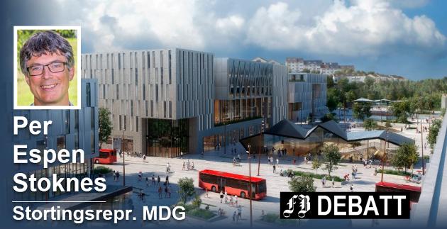MDG-representanten Per Espen Stoknes kaller den utsatte Intercity-planen en bløff. Grønli stasjon i Fredrikstad skulle ifølge den opprinnelig planen stå ferdig i 2026. Illustrasjon: Dyrvik arkitekter, SLA, Norsam og Sweco,«Grønlikilen»