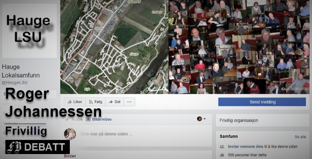 Slik presenterer Hauge Lokalsamfunnsutvalg seg på Facebook. Roger Johannessen mener utvalget har mer karakter av å være kommunens forlengede arm enn et organ for nærdemokrati på Hauge.