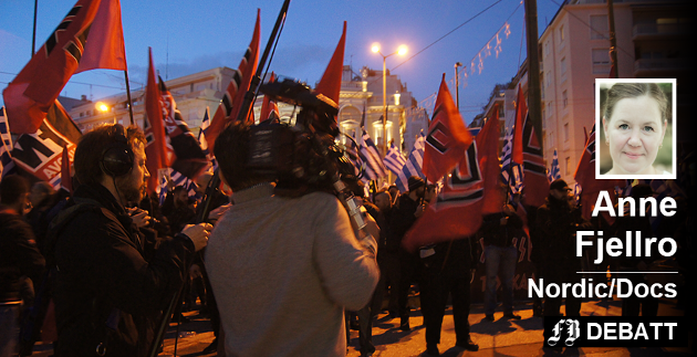 «Hatets vugge», en film av Håvard Bustnes, viser hvordan kvinnene tok over det høyreekstreme partiet Golden Dawn i Hellas, mens mennene deres satt fengslet for mordforsøk. Filmen vises på Nordic/Docs dokumentarfilmfestival i Fredrikstad denne helgen. Foto: Up North