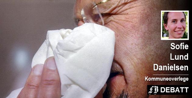 God hostehygiene er et av de beste tipsene for å unngå å bli influensasyk.  « Så la oss være sammen, men hoste hver for oss!»  Arkivfoto: FB