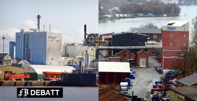 To sterke bidragsytere i Østfolds viktigste eksportkommune: Kronos Titan og Unger Fabrikker. – Så la oss slå ring om EØS-avtalen som trygger norsk velferd og norske arbeidsplasser, skriver Nina Solli.