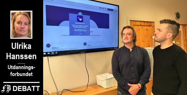 Mattis Uthberg Hambo og Ole Jørgen Christiansen i Utdanningsforbundet Fredrikstad er blant dem som sliter med IKT-systemet Viglio. – Situasjonen oppleves som både akutt og kritisk, heter det i kronikken.