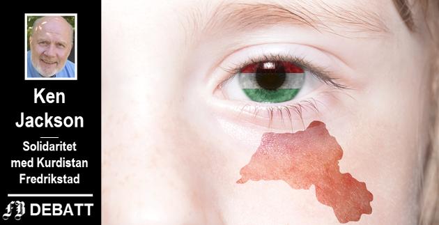 Tåren på jentas kinn er formet som området kurderne ønsker skal bli en egen stat. Hun har det kurdiske flaggets farger på hornhinnen.