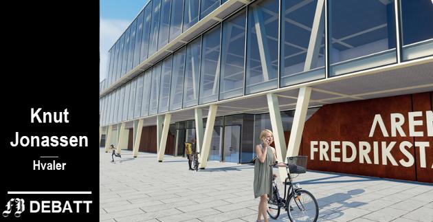Fin fasade og innbydende uteområde på vinnerforslaget til Arena Fredrikstad. – Men hva skjer når en fremtidig kjempestormflo slår inn over området, spør brevforfatter Knut Jonassen.