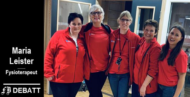Det er hverdagsrehabiliteringsteamet i Hvaler kommune, fra venstre Iselin Johansen, Cathrine Eliassen, Maria Leister, Margareta Hagbohm og Emma Huth. Kirsti Blomquist var ikke til stedet da bildet ble tatt.