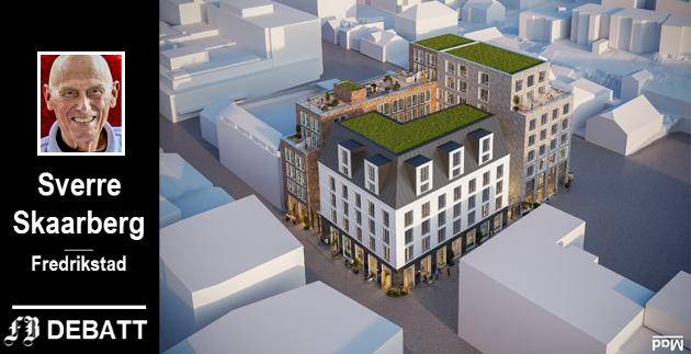 Cityplan har lansert denne modellen for nybygg i kvaralet etter Cewex-gården som brant.. – Hvorfor ikke trekke fasaden tilbake på de øverste etasjene, spør Sverre Skaarberg.  Modell: MAD Arkitekter