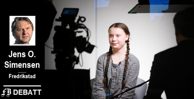 «Ungdommens kompromissløshet, stahet og sterke ordbruk viser seg å gi resultater. Så får vi konstatere at debatten føyer seg inn i et kjent mønster: ung kvinne mot eldre, hvite menn», skriver Jens Olav Simensen og viser til Greta Thunberg.