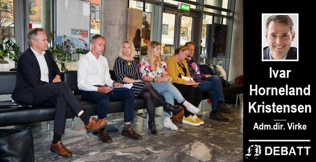 De som her blir utfordret på at Fredrikstad kommune må støtte opp om private leverandører er, fra venstre, Jon-Ivar Nygård, Ap, Erik Skauen, MDG, Elin Johanne Tvete, Sp, Hannah  Berg, Rødt, Camilla Eidsvold, SV og Jonas Quale, Bymiljølista.