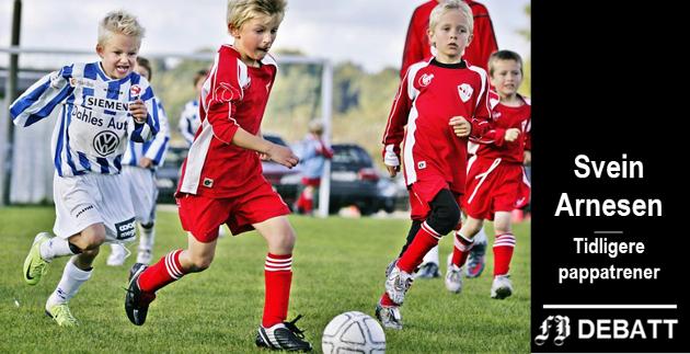 Ikke lett for en som ikke har trent tidligere å havne på gruppe med slike unge, entusiastiske fotballspillerne. Svein Arnesen kaller det fysisk misskjøtsel når barn ikke blir oppmuntret til fysisk aktivitet.