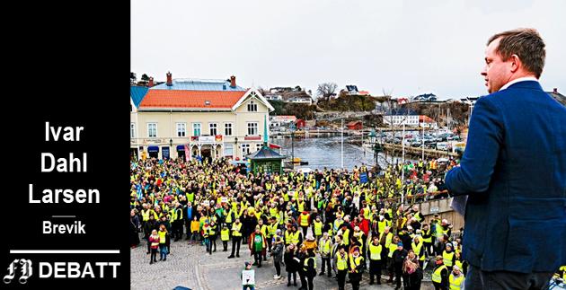 Ordfører Robin Kåss, Porsgrunn ( AP ) holder tale i demonstrasjonen, Nei til deponi i Brevik.