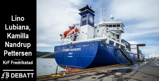 – Det må bli tilkobling til landstrøm for alle skip som legger til kai på Øra, ber Fredrikstad KrF. Det er i tråd med FNs  bærekraftsmål og et rimelig krav til den lille verdensbyen, mener partiet.