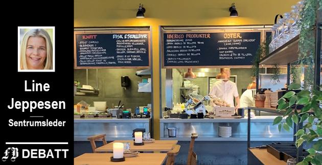 Line Jeppesen er svært glad for de mange nye restaurantene som i disse dager åpner i Fredrikstad. Bildet er fra Delicatessen som er i gang i Litteraturhuset.