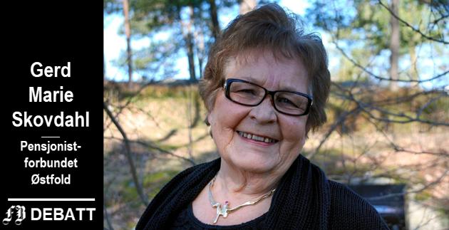 Gerd Marie Skovdahl, mangeårig leder av Pensjonistforbundet i Østfold.