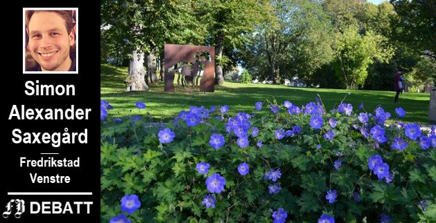 – Vi kan vise lokalt hvordan vi ønsker at et moderne byområde skal være, med blomsterrike bievennlige parker, skriver Fredrikstad Venstres leder Simon Alexander Saxegård.