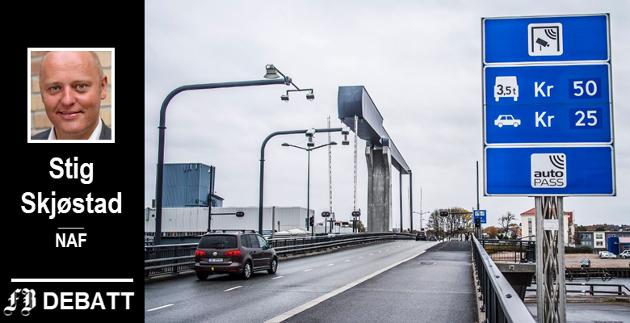 – Ikke på noe annet politikkfelt har brukerbetalingen økt tilsvarende, skriver Stig Skjøstad i NAF.  Kråkerøy-folk har merket dette siden Værstebrua ble åpnet i 2011.