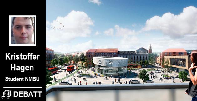 Fremtidens Grønli? – Dobbeltspor gjennom Fredrikstad vil i henhold til Bane NORs anbefaling kun koste rundt 9,7 milliarder, en kilometerpris som er rundt halvparten av Fornebubanen, opplyser Kristoffer Hagen.  (Illustrasjon: Rodeo arkitekter og Norconsult)