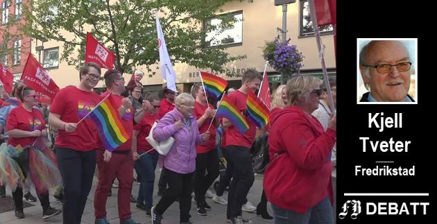 Kjell Tveter mener den seksuelle revolusjon la  grunnlaget for homobevegelsen, og at det viktigste ble å gjøre som man vil – uten hensyn til kristen seksualmoral. Her bilde fra en tidligere Pride-parade i Fredrikstad.
