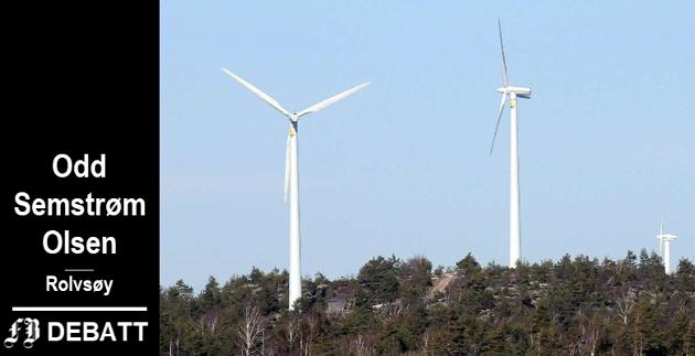 Odd Semstrøm Olsen: – En elektroingeniør sa til meg for en stund siden at det ikke var én, ikke én, vindmølle som går med overskudd! Illustrasjonsbilde av vindmøller  i Tanum i Sverige.