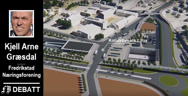 Grønli stasjon med kollektivgate på modellene Bane NOR har presentert. Fredrikstad Næringsforening ber Regjeringen prioritere denne koblingen mellom buss og tog.