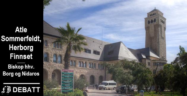 Den evangelisk-lutherske kirken er medeier i Augusta Victoria-hospitalet med kirke på Oljeberget i Jerusalem. Biskopene skriver at slike skoler og helsetilbud er svært viktig for kirkens troverdighet i den palestinske opinionen i en tid der mange knytter kirke og kristendom til USAs maktspill og retorikk.