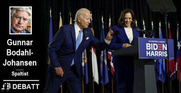 Kastet maska: Presidentkandidat Joe Biden fjerner ansiktsmaska etter å ha inntatt podiet og skal presentere visepredisentkandidat Kamala Harris i Alexis Dupont High School i Wilmington, Delawere onsdag.