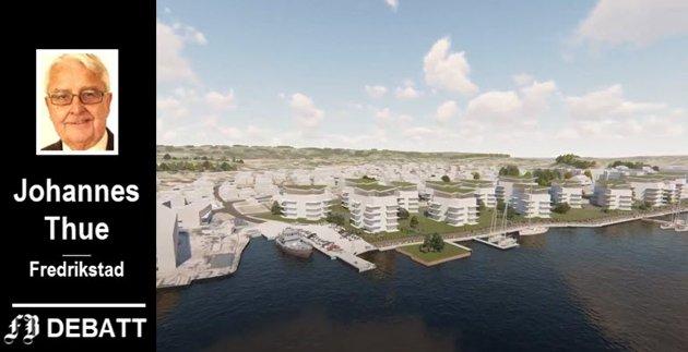 Solid-gruppen på Rolvsøy er en av utbyggerne som har planer for utbygging langs elvebredden på Gressvik. – Elvebredden skal bygges ned med høyhus, kanskje for å møte drømmen om en liten verdensby? spør Thue.