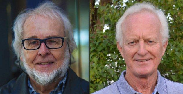 UENIGE: Odvar Rakeng (t.v.) og Roger Prang er uenige om hvordan Tistedalens Musikforening skal skrives på muntlig språk.