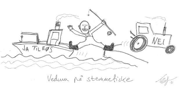 Senterpartiet har røttene på land og deres handelspolitikk rimer dårlig med behovene til kyst-Norge. Derfor forskrever Senterpartiet seg grundig når de prøver å vinne kystens gunst, skriver Venstres næringspolitiske talsmann, André N. Skjelstad. Tegning: Skarpen