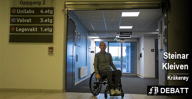 Geir Rugsveen Engen må tilbringe nettene på Helsehuset. Steinar Kleiven mener kommunen ikke vil ut med den reelle grunnen til at han ikke får hjelpen har trenger til å sove hjemme.