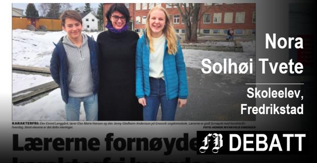 Lærerne fornøyde med karakterfri hverdag på Gressvik ungdomsskole – delte meninger blant elevene, var tittel på denne reportasjen i Fredriksstad Blad 17. februar.