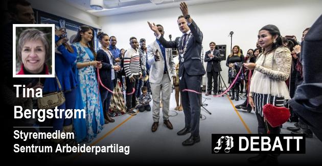 – Å lære norsk og komme i arbeid er nøkkelen til integrering, fastslår Tina Bergstrøm. Bilde fra åpningen av Fredrikstad internasjonale skole i oktober 2016.