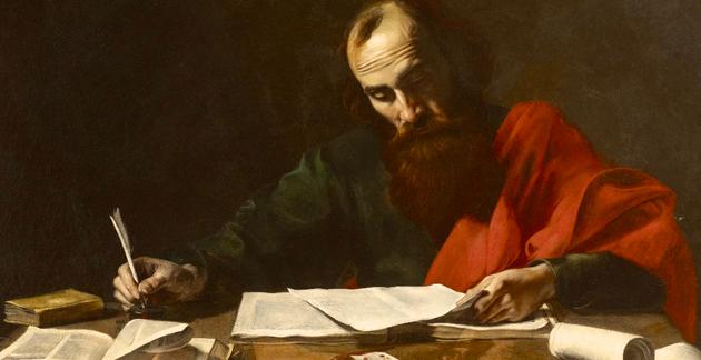 Paulus tilkjennes 13 tekster i Det nye testamente. Teologene mener han bare har skrevet sju av dem, forteller Egeland. Maleri av  Valentin de Boulogne eller Nicolas Tournier, 1620