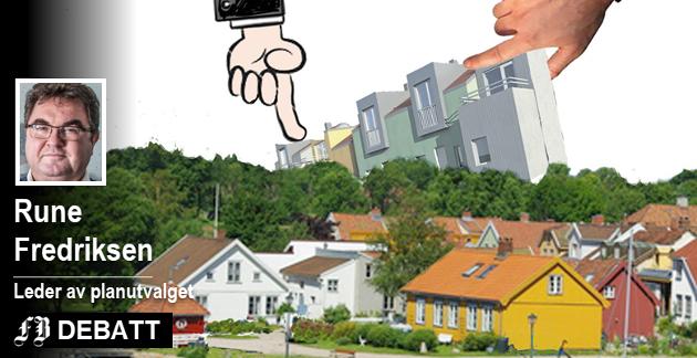 – Ikke bare legge til rette for flest mulig boliger, men også vurdere konsekvensene av fortetting. Denne illustrasjonen ble i sin tid laget under diskusjonen om nye boliger i moderne stil i Vaterland. Montasje: Jørn Grynnerup