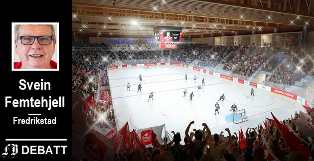 Ishockeyens nye storstue, slik det er tegnet i vinnerforslaget. Svein Femtehjell mener det er bruke  altfor mye penger på et middelstort idrettslag som ikke har organiserte tiltak for jenter, ikke har noen særlig rolle i idrettens inkluderingsarbeid og har et A-lag i den nedre del av eliteserien i en nasjonalt liten idrett..