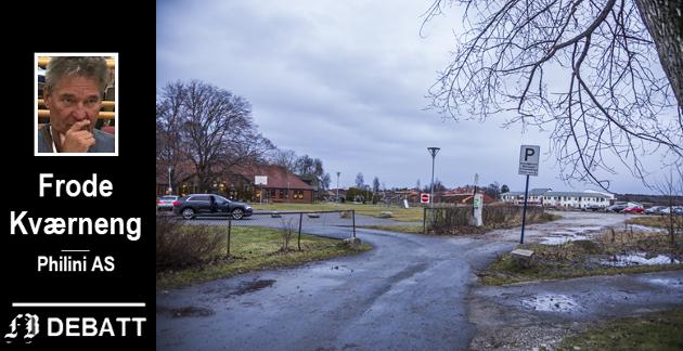 Forretningen vil ligge til høyre på dette bildet. – Forretningens fasade mot skolegården blir lukket og er planlagt med aktivitets- og lekeinnretninger for skolebarna for å gi skolens uteområde økt kvalitet og skjerming, skriver Kværneng.