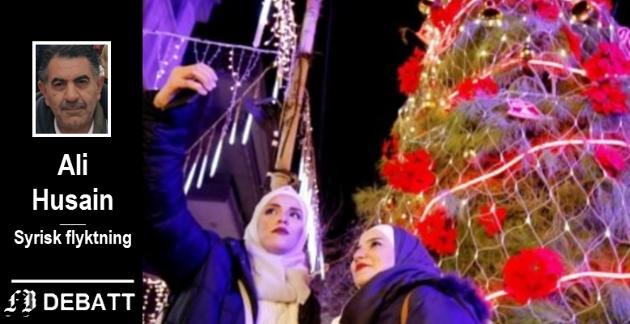 Julfeiring i Damaskus. –  Vi pleide å samles rundt det store juletreet og likte å se orkesteret opptre med veldig interessante julesanger, skriver Ali Husain.
