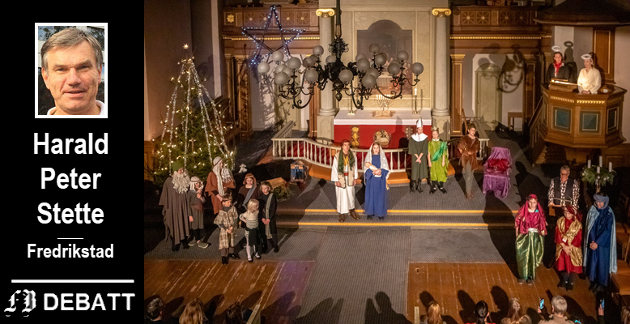 Harald Peter Stette godtar ikke forestillingen om at det meste av det som skjer i jula kan forklares som lån fra andre tradisjoner. Illustrasjonsbilde fra julespill Østre Fredrikstad kirke i fjor.