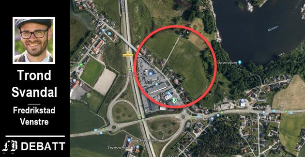 Området der Trond Svandal og Venstre vil sikre jordbruk for fremtiden, ligger ved rundkjøringen på Årum, nord for Sundløkkaveien.