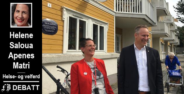 –  Holmen-konseptet er en suksess, fastslår Helene S. Apenes Matri og forteller at oppfølgingen av et «Holmen II-prosjekt» er i en tidlig fase. Her står hun og ordfører  Jon-Ivar Nygård utenfor suksess-senteret.