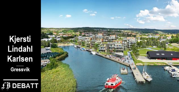 Slik ser utbyggerne for seg området ved det nye fergeleiet i Ålekilen. Kjersti Lindahl Karlsen mener det vil bli for få parkeringsplasser til fergependlere og at trafikken rundt det nye boligområdet blir et problem.