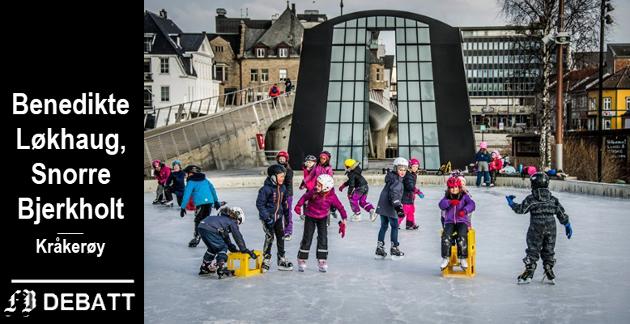 Når klokken har blitt 20 og disse har avsluttet sin økt, bør det åpnes for å spille ishockey på kunstisflaten, mener brevforfatterne og Eivind Leister i Høyres bystyregruppe.
